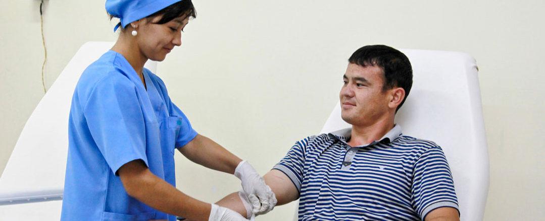 Man having blood test