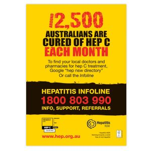 Around 2500 Australians cured of hep C each month poster