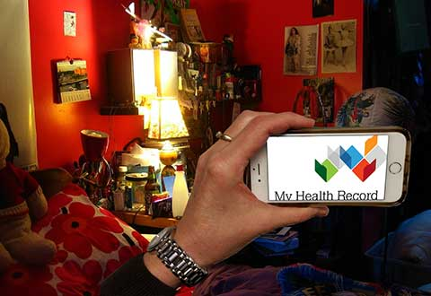 Image of mobile phone showing My Health Record