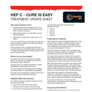 Image of our hep C treatment update sheet